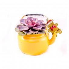 Оранжев чайник със седум и коледна украса