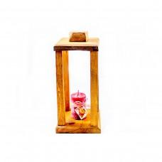 Ръчно изработен кафяв фенер с коледна украса